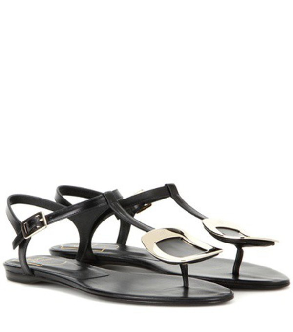 Roger Vivier Thong Chips Embellished Leather Sandals in black