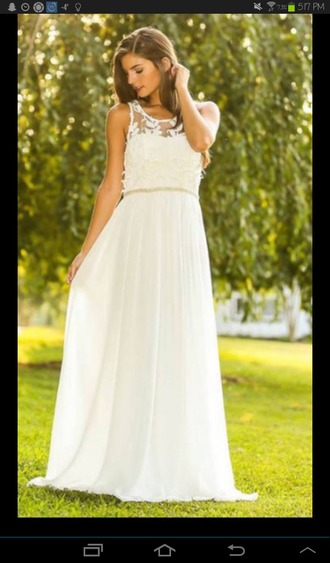 dress long dress floor length floor length dress white dress white beige lace lace dress sleeveless girly formal pretty beautiful dress beautiful tumblr evening dress summer event night party party dress prom prom dress