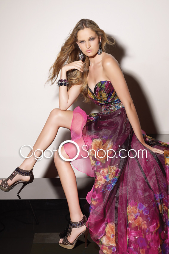 Fairy Colorful Chiffon Asymmetrical Prom Dress with Lovely Patterns and Ruffles