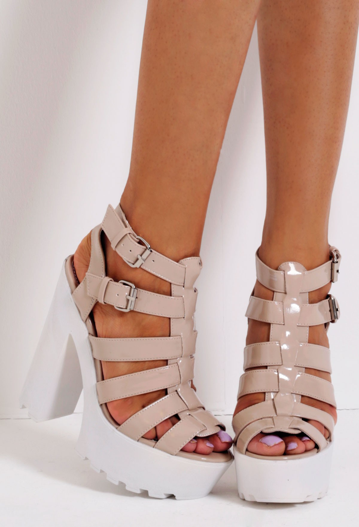 Toffee nude patent strappy buckle tractor sole platform shoes