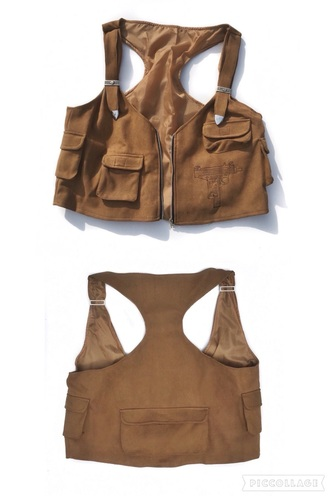 blouse suede beige safari crop tops crop pockets sleeveless zip zipper tops zip down top jacket cropped post apocalyptic tan