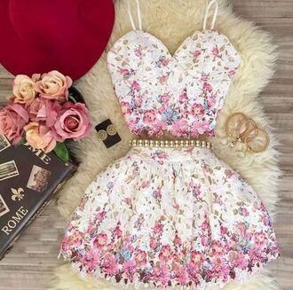 tank top two piece dress set dress floral date outfit romantic dress summer dress