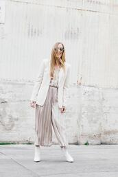 eat sleep wear,blogger,jumpsuit,jacket,sunglasses,shoes,blazer,ankle boots,spring outfits