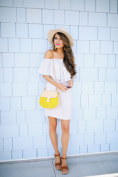 southern curls and pearls,blogger,sunglasses,jewels,make-up,off the shoulder,white dress,yellow bag,wedges,stripes,striped dress