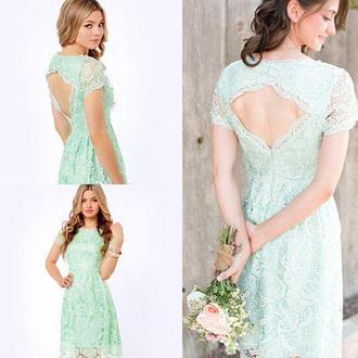 dress mint lace prom bridesmaid cute fashion elegant vanessawu