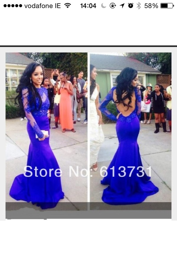 dress royal blue dress prom dress