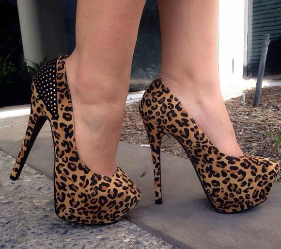 shoes animal print high heels leopard pumps