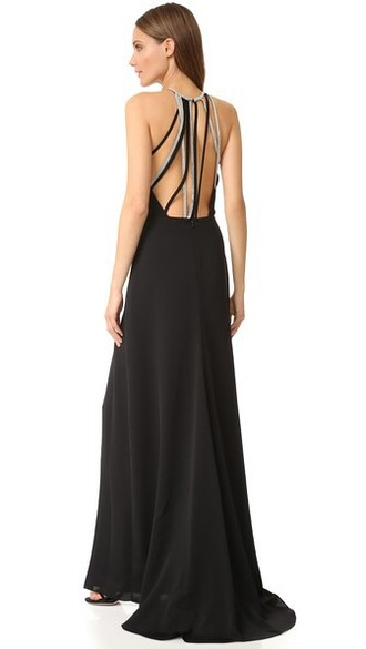 gown back high high neck black dress