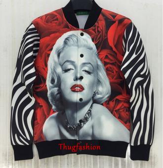 marilyn monroe jacket custom roses print zebra print
