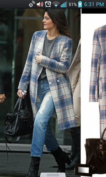 coat trench pale blue plaid kylie jenner