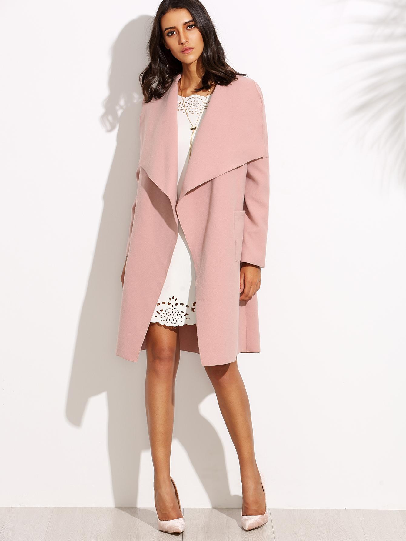 Drop Shoulder Drape Collar Wrap Coat -SheIn(Sheinside)