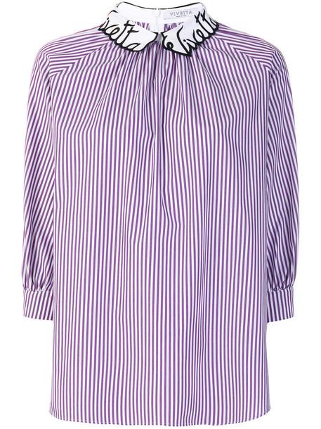 Vivetta - striped blouse - women - Cotton - 40, Pink/Purple, Cotton