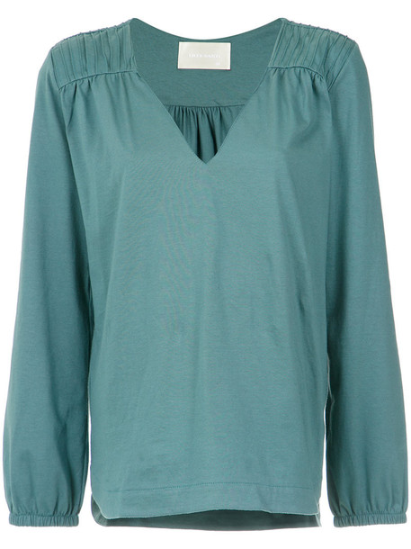 Lilly Sarti - longsleeved V-neck blouse - women - Cotton - 42, Green, Cotton