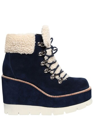 shearling boots boots suede navy beige shoes