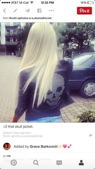 jacket leather jacket skull rock blonde hair style