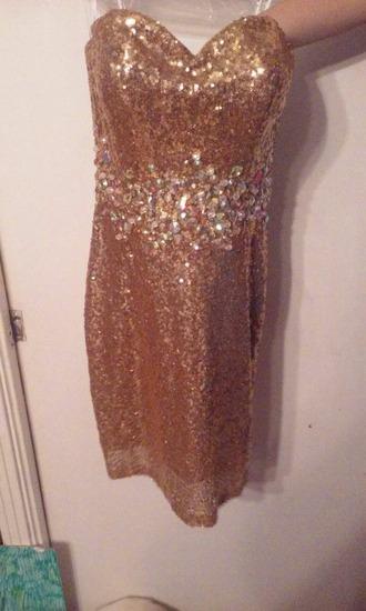 dress gold dress strapless