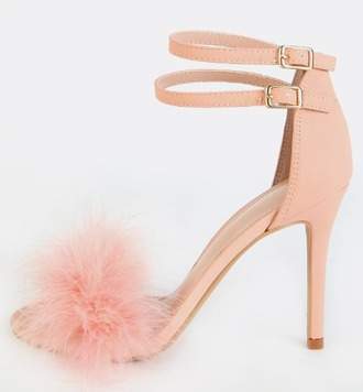 shoes girl girly girly wishlist pink high heels strappy heels fur fur heels peep toe heels ankle strap heels