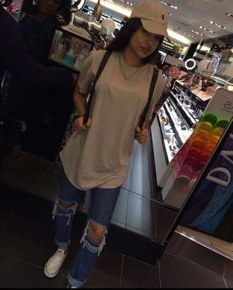 shirt tan ralph lauren converse ripped jeans jeans denim hat cap t-shirt nude