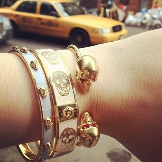 jewels gold bracelets skull gold skulls