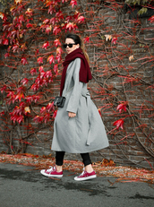 coat,grey coat,converse,scarf,tumblr,grey long coat,long coat,sneakers,low top sneakers,red sneakers,red converse,sunglasses