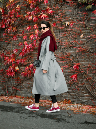 coat grey coat converse scarf tumblr grey long coat long coat sneakers low top sneakers red sneakers red converse sunglasses