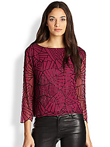 Alice   Olivia - Adeline Embellished Chiffon Top - Saks Fifth Avenue Mobile
