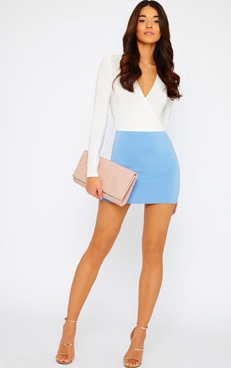 top bodysuit white top skirt blue skirt outfit clothes