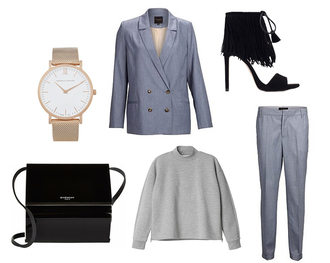 so in carmel blogger blazer tailoring grey sweater gold watch fringe shoes sweater shoes bag jewels
