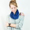 Royal blue cowl infinity scarf sweater knit short women fashion short cozy