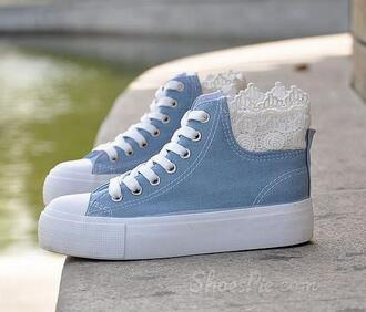 shoes sneakers blue blue shoes blue sneakers lace lace sneakers high tops high top sneakers