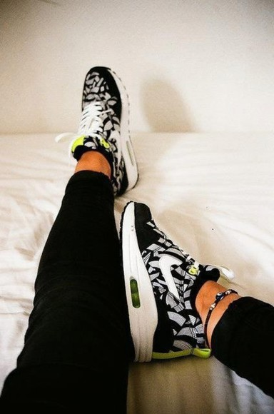shoes neon yellow nike air nike air max 1 print printed shoes black and white trainers nike green nike black grey size 10 nike air max 1s zebra