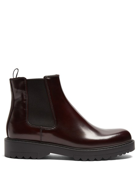 Prada leather ankle boots ankle boots leather dark dark red red shoes