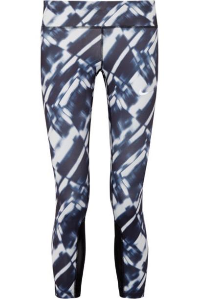 Nike leggings mesh fit run navy pants