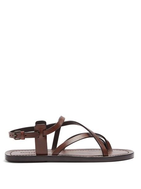 Saint Laurent cross sandals leather sandals leather dark brown shoes
