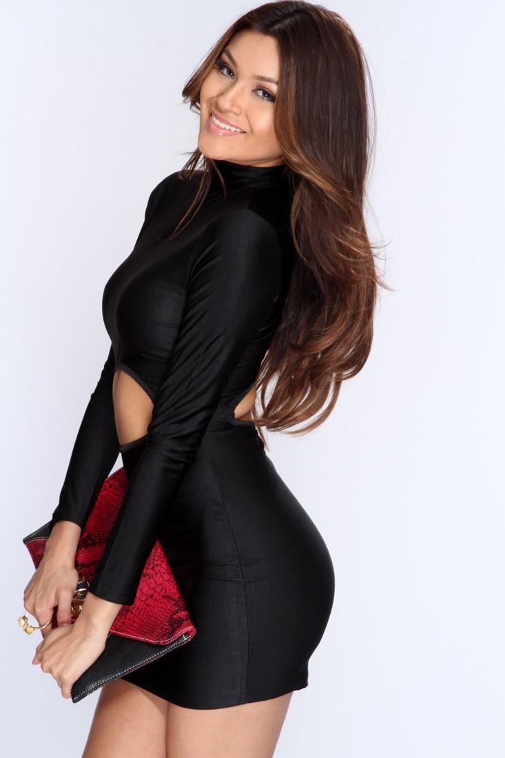 Black Cut Out Bodice Sexy Body Con Dress