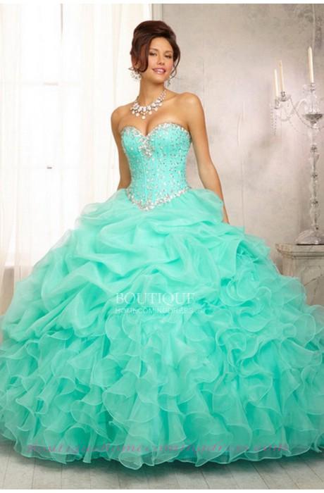 Sleeveless mint quinceanera dress