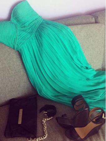 Chic green chiffon dress/graduation dress [e0024]