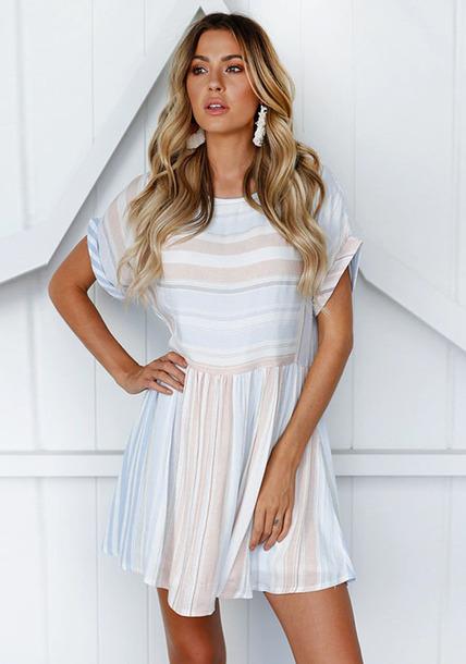 dress mini dress loose dress women clothing srtipe
