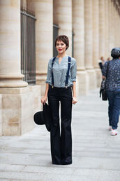 pants,blue shirt,black flared trousers,black hat,blogger,suspenders
