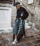 skirt,maxi skirt,checkered,mesh,sneakers,cropped sweater,knitted sweater,turtleneck sweater,leather clutch,cap