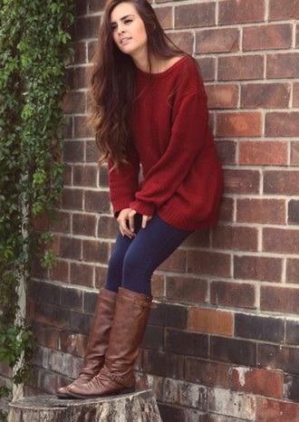 red sweater red off the shoulder sweater jeans brown boots fall outfits sweater