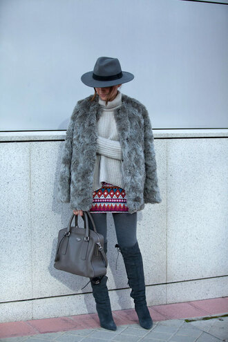 lovely pepa blogger grey jacket faux fur fedora tribal pattern grey boots knitted sweater skirt shoes coat sweater bag hat jewels