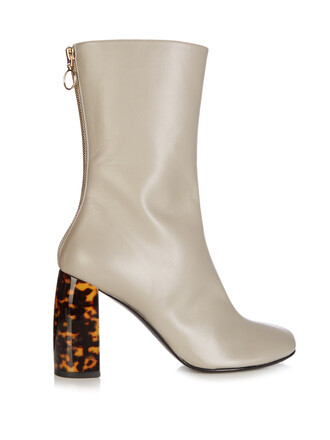 heel boots leather boots leather grey shoes