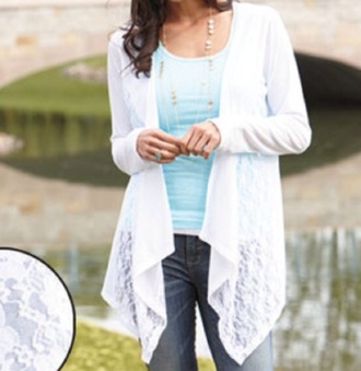 cardigan white open front lace cute