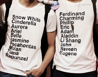 white t-shirt clothes disney princess prince snow white cinderella aurora ariel belle jasmine pocahontas mulan tiana rapunzel t-shirt quote on it graphic tee hipster wishlist valentines day gift idea