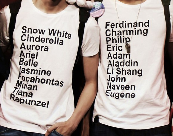white t-shirt clothes disney princess prince snow white cinderella aurora ariel belle Jasmine Pocahontas Mulan Tiana Rapunzel t-shirt quote on it