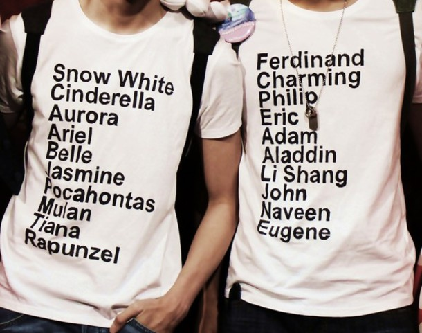 white t-shirt clothes disney princess prince snow white cinderella aurora the little mermaid belle Jasmine Pocahontas Mulan Tiana rapunzel t-shirt quote on it graphic tee hipster wishlist valentines day gift idea