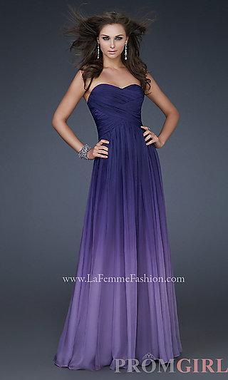 La femme gowns for prom, purple gown ombre, ombre dress