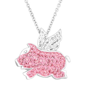 jewels flying pig pendant pig pendant pig necklace silver necklace swarovski necklace crystaluxe swarovski