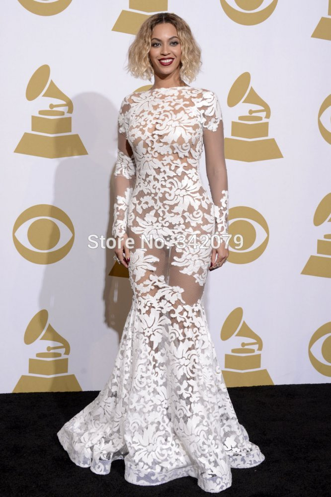 ph04488 free shipping long strain lace see through dress grammy awards 2014 Beyonce celebrity dresses 2014 evening dress-in Evening Dresses from Apparel & Accessories on Aliexpress.com